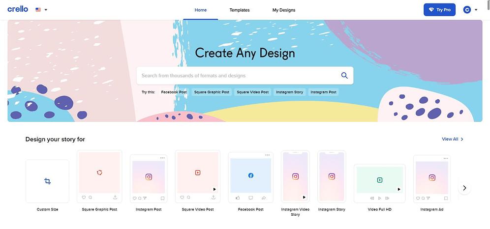 homepage of crello vs canva
