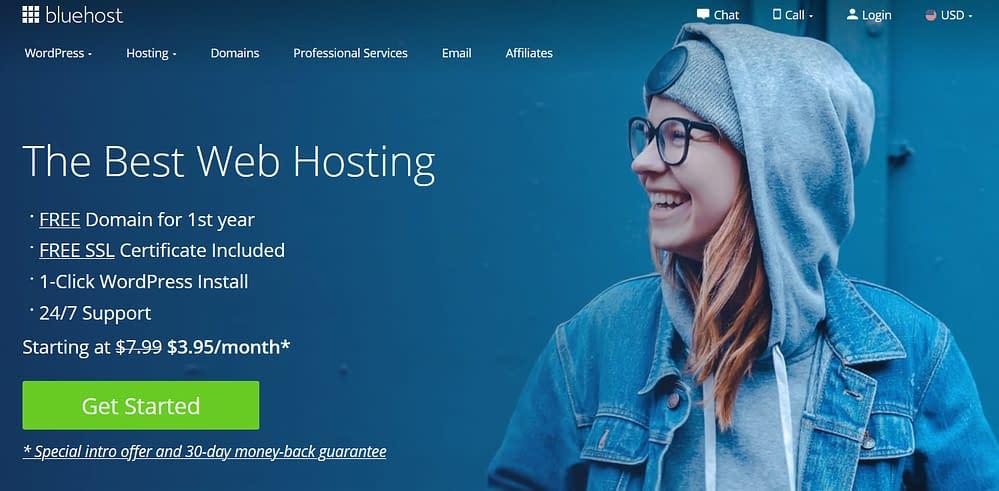 Bluehost.com landing page