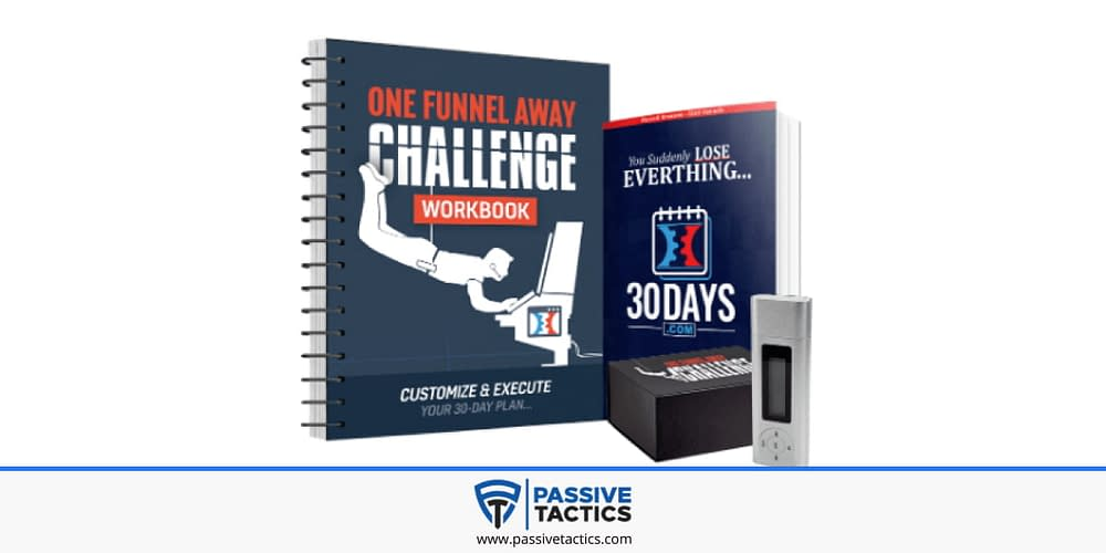 One Funnel Away Bonuses, a package of a book, a workbook and an MP3