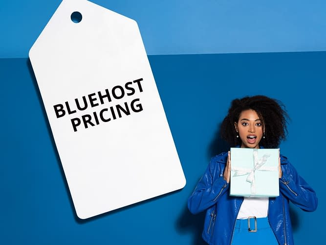 A woman standing next to a label of Bluehost Pricing.