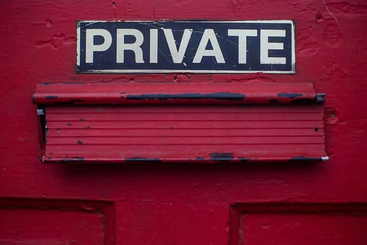 Private red door.