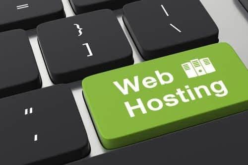 Keyboard with a key named Web Hosting.
