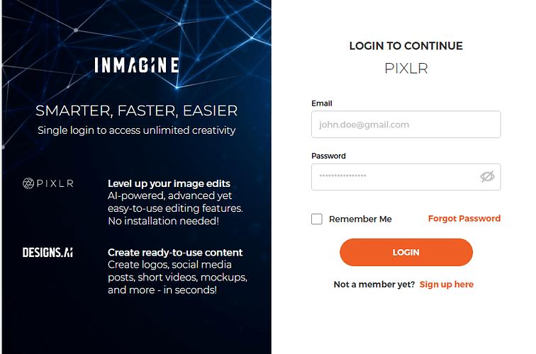 Pixlr Login/Sign Up Page