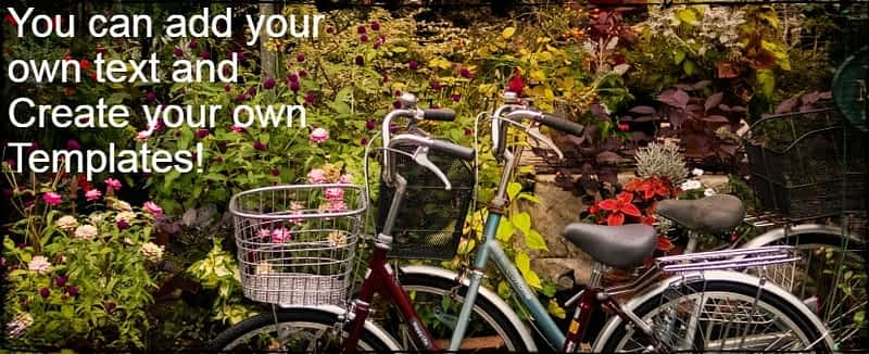 A designed image with two bicycles in front of flowers.