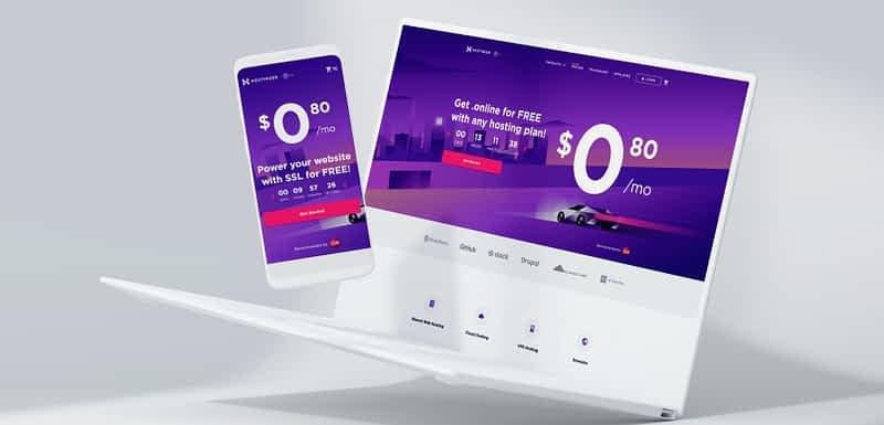 Hostinger Web Hosting offer webpage in a laptop and a smartphone