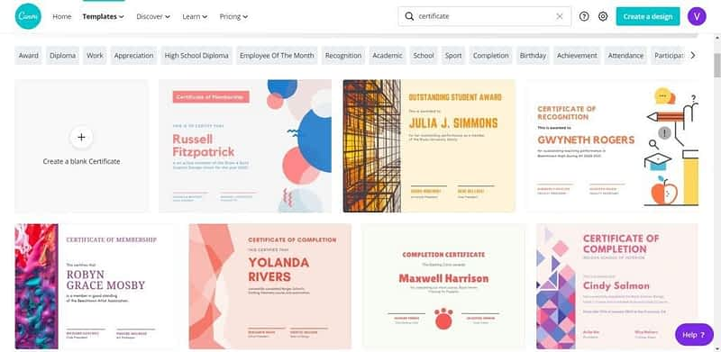 Canva for Education Certificate Templates