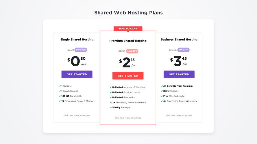 Hostinger Shared Hosting Pricing Table