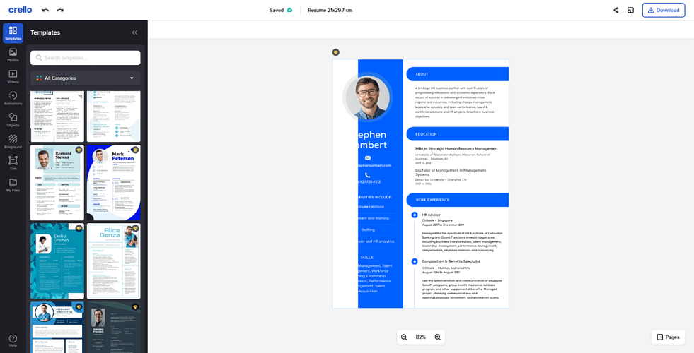 Crello Resume Template