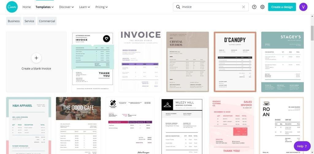 Canva for Work invoice templates