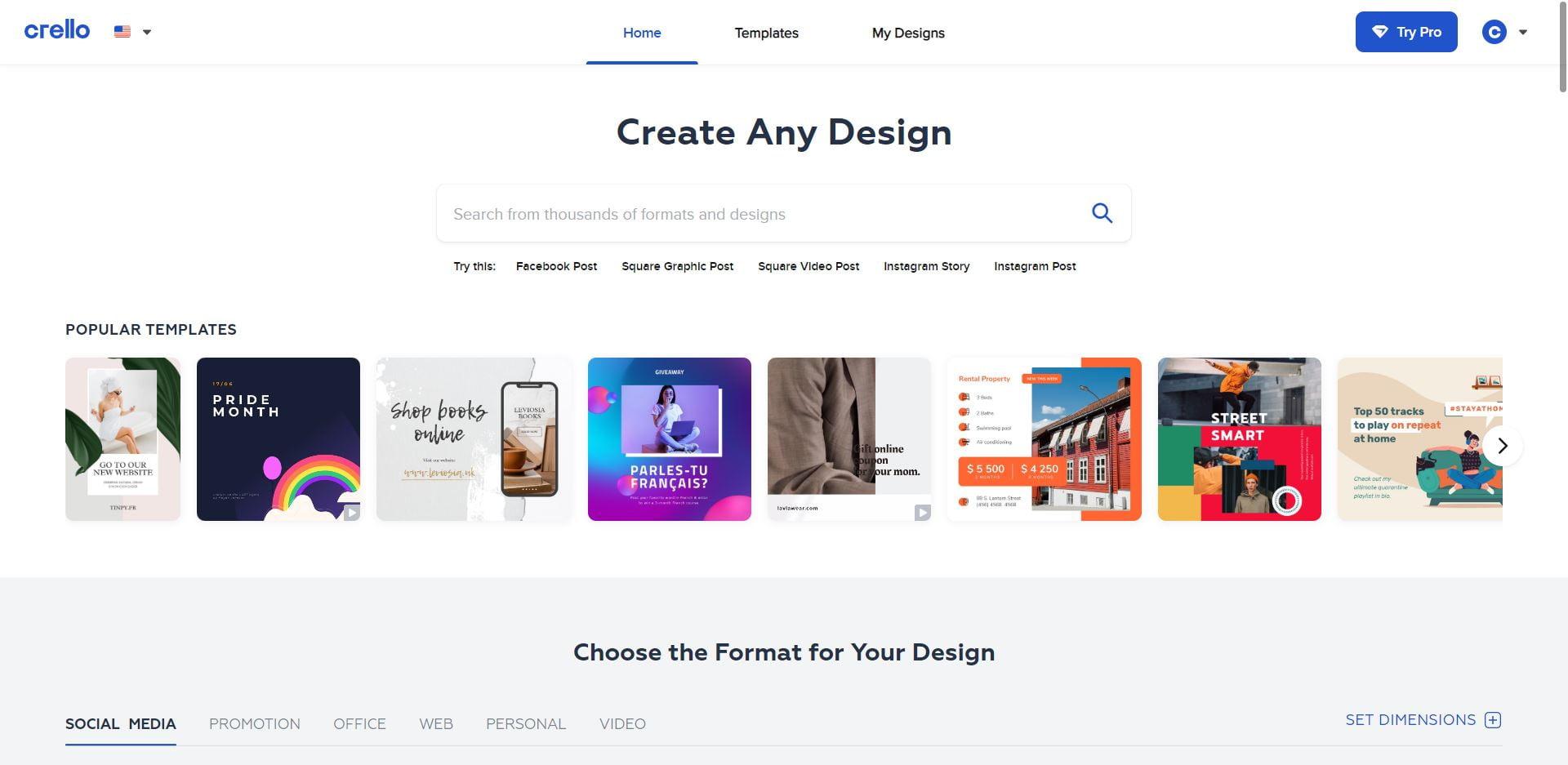 Crello Homepage